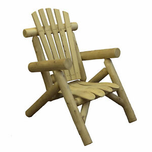 Lakeland Mills Country Cedar Log Wood Outdoor Porch Patio Lounge Chair, Natural