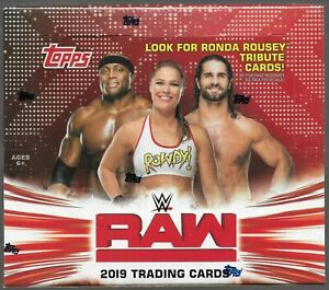 NEW SEALED WWE Wrestling Topps 2019 RAW Trading Card HUGE RETAIL Box 24 Packs