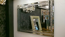 NEW Modern Art Deco Acrylic Crystal Glass Design Bevelled Mirror 60x80cm Clear
