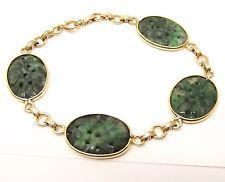 """Vtg 14K Gold Carved Green Jade Link Bracelet Ornate Station Floral Estate 7"""""""