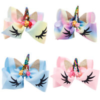 Gift Children Party Rainbow Unicorn Bows Girls Hairpins Glitter Ears Hair Clips