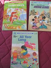 4 GOLDEN Coloring Books Never Used 3 Disney 1 Easy Tear-out Pages, 1 Sticker Fun