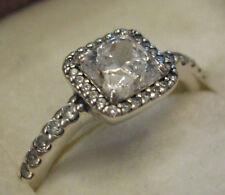PANDORA Square Sterling Classic Elegance CZ Ring ~ Sz 54 or 7-7.25 ~ Mint!