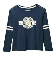 NWT ~ TRUE RELIGION Long Sleeve Navy Varsity T-Shirt Little Girls Size 6  CUTE!