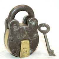 Old 1930s Antique Beautiful Handmade Brass Fitted 6 Lever Iron Pad Lock with Key