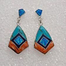 Sterling Silver Inlay Multi-Stone Diamond Kite Shape Turquoise Post Earrings