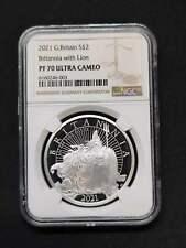 Great Britain 2021 UK   Britannia 1 oz Silver Proof Coin £2  NGC PF70