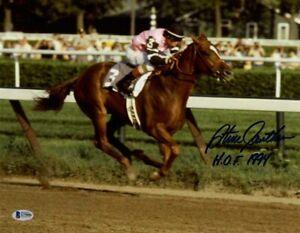 STEVE CAUTHEN SIGNED 11x14 PHOTO + HOF 1994 AFFIRMED JOCKEY LEGEND BECKETT BAS