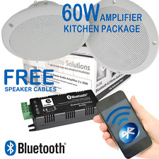 2x White Kitchen Ceiling Speakers + 60w Wireless Bluetooth Amplifier B429BL