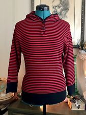 QUEST-CE QUE C'EST? Striped Knit Top Hooded Soft Stretch Sz M Blk/Red Grunge 90s