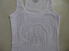 White Tank Top w/Studs/Rhinestones / Dress Up or Down - Sexy or Not / Med / NWOT