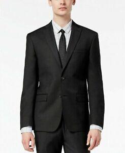 DKNY Men's Modern-Fit Stretch Textured Wool Suit Jacket -Black- 42Long
