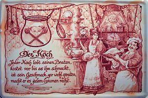 Beruf Koch Blechschild Metallschild Schild gewölbt Metal Tin Sign 20 x 30 cm