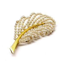 Vintage 1950s Leaf Feather Brooch. Faux Pearls On Wire. Gold Tone. Dainty.