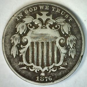 1876 US Shield Five Cent Nickel Coin 5c US Type Coin Copper Nickel Very Good VG