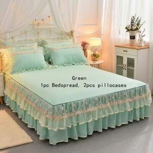 3PCS Bedding Set Bedspread Pillowcase Lace Ruffle Bed Sheet Pillow Cover Home