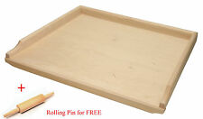 Wooden Pastry Board Big 70 cm Chopping Cutting + Rolling Pin for FREE Baking