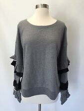 NWT JCREW Ruffle-sleeve Sweatshirt Sweater Top Size XL Heather Grey H1834
