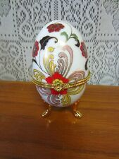 Limoges~Porcelain Footed Hinged Egg Trinket Box Floral Design