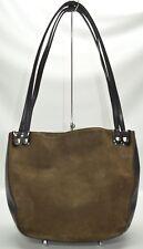Bally Designer Olive Suede And Leather Trim Suede Large Satchel Shoulder Bag