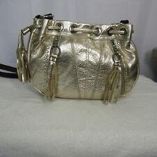 B Makowski Gold Leather Hobo Bucket Drawstring Crossbody Shoulder Bag Purse NEW