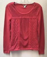 Lucky Brand Shirt Waffle Crochet Long Sleeve Top Women's Medium Blouse