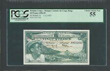 Belgian Congo 20 Francs 1957  Pick- 31,  PCGS  55    AUNC