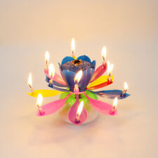 Rotating Mix Colour Lotus Flower Birthday Musical Cake Candles with Music Magic