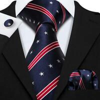 USA American Flag Mens Tie Ties Silk Set Blue Red Necktie US flag Star Patriotic