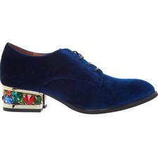 BNIB Jeffrey Campbell Albert JH Blue Velvet Shoes Gem Embellished Heels UK 5 38