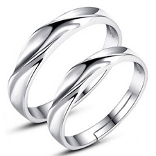 925 Sterling Silver Plated Men Women Wedding Engagement Ring Jewelry Adjustable