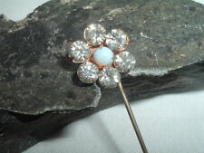 Vintage White Rhinestone and Opal Mens Lapel Pin Stickpin in Gift Box