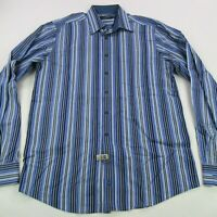 Bugatchi Uomo Mens Button Up Casual Shirt Blue Stripes Long Sleeve Large Tall