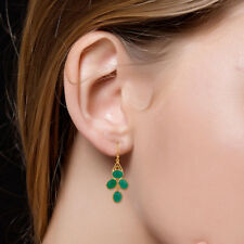 14K Gold Plated Silver Green Onyx Gemstone Dangle Earrings Fashion Jewelry