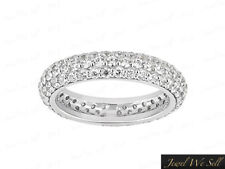 Band Ring 10k White Gold Gh I1 2.0Ct Round Cut Diamond 3Row Pave Eternity Bridal