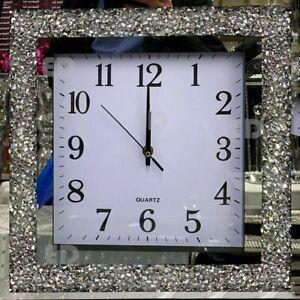Crushed Mirror Jewel wall clock roman numbers diamante mirror glass clock