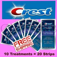10 TREATMENT 20 STRIPS CREST 3D WHITESTRIPS PROFESSIONAL LEVEL TEETH WHITENING