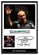 001.  PHIL TAYLOR DARTS SIGNED REPRODUCTION PRINT SIZE A4