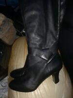 ROCKPORT Black Leather Knee High Mid heels Boots Size UK7 adiprene technology