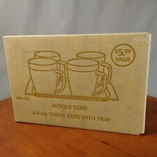 Vtg Gold Thermal Mugs with Tray - 8 oz Therm Coffee Cups with Handles Sealed Box