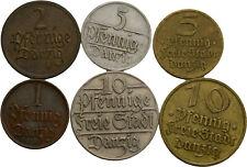 Künker: Danzig, Kleinmünzenlot, 1 Pfennig - 10 Pfennige, 1923-1937, siehe Fotos