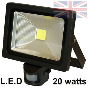 LED PIR Security Motion Detector Outside Lamp Floodlight Light 20W Black