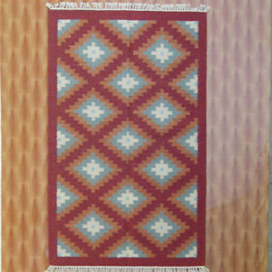 Red Color Wool Kilim Carpet Diamond Bedroom rugs 3'x5' Floor Mat Area Rug Porch