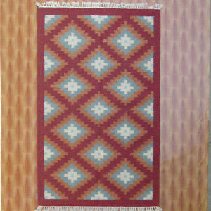3'x5' Wool Kilim Carpet Diamond Bedroom rugs Floor Mat Area Rug Porch Red Color