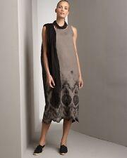 NEW Eskandar Linen TAUPE w/BLACK Embroidered Scallop Hem Dress (0) $1295