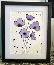 Original framed watercolour painting, poppies, one of a kind art - not a print