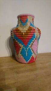 A Vintage African Woven Sesgrass Handcrafted Vase - Storage Container