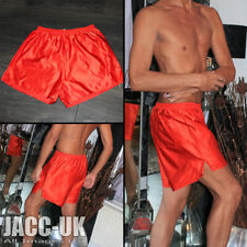 NEW Mens D9/10 XL Shiny Red Glanz Satin Striped Vintage Shorts Run IBIZA Gym.13