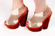 70s vintage inspired pony hair wooden heel platform shoes sz 6 OFFICE boho hippy