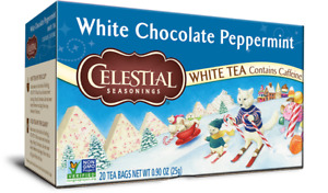 Celestial Seasonings White Chocolate Peppermint Tea, NEW 20 bags boxed